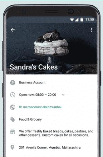 whatsapp business com a tela de Perfil aberta, exibindo dados de uma empresa fictícia